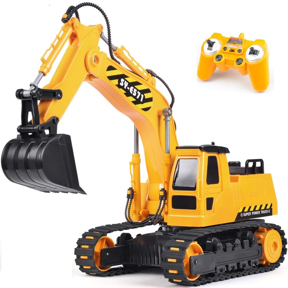 DOUBLE E Remote Control Excavator Toy Truck - Top Toys and Gifts for Four Year Old Boys 1